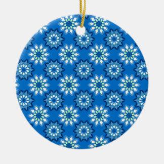 Blue Floral Pattern Round Ceramic Decoration