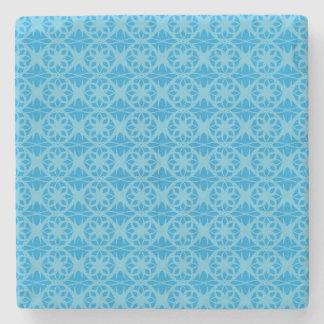 Blue Floral Pattern Stone Coaster