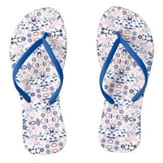 Blue Floral Pattern Thongs