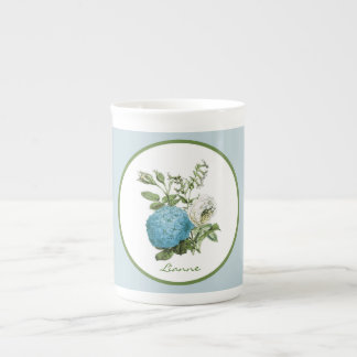 Blue Floral Personalised Bone China Mug