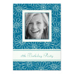 Blue Floral Photo 18th Birthday Party Invitations