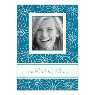 Blue Floral Photo 21st Birthday Party Invitations