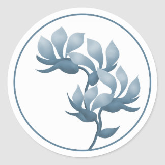 Blue Floral Pods Classic Round Sticker