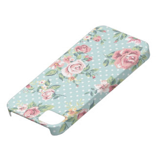 Blue Floral Polka Dot Barely There iPhone 5 Case