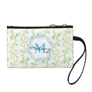 Blue Floral Print Monogram Coin Purse