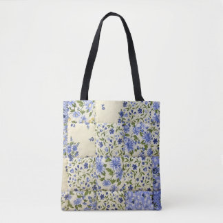 blue floral quilt design tote bag