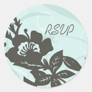Blue Floral RSVP Envelope Seals Round Sticker
