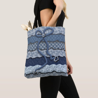 Blue Floral Ruffle Tote - Hearts and Bow