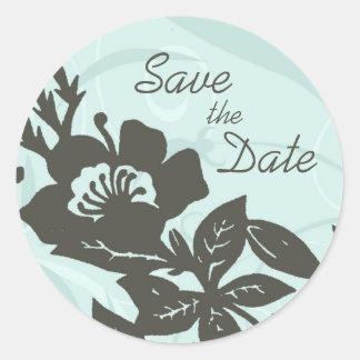 Blue Floral Save the Date Envelope Seals Round Sticker