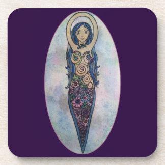 Blue Floral Spiral Goddess Coaster