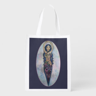 Blue Floral Spiral Goddess Reusable Grocery Bag