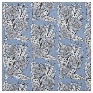Blue Floral Spray Fabric