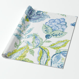Blue Floral Tapestry with Glitter Effect Wrapping Paper