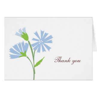 Blue Floral Thank You Card