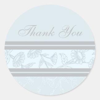 Blue Floral Thank You Envelope Seals Round Sticker