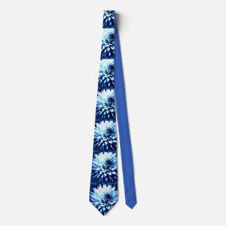 Blue floral tie, dahlia lovers delight tie