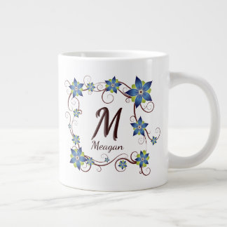 Blue Floral & Vine Framed Monogram Initial & Name Large Coffee Mug