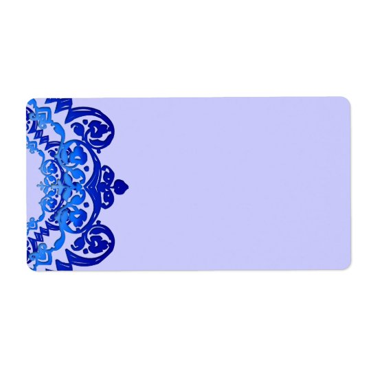 Blue Floral Vintage Art Blank Large Labels