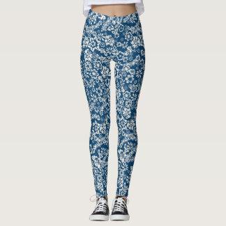 Blue Floral Vintage Leggings