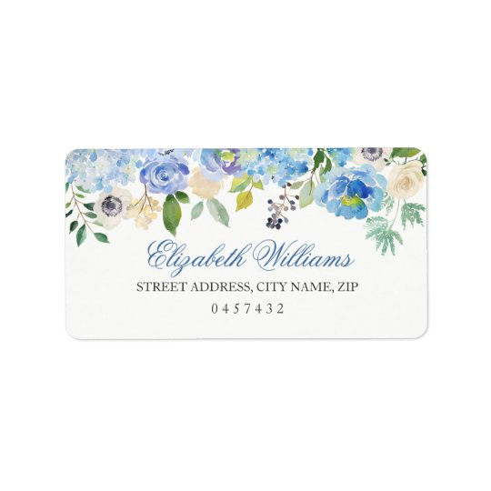 Blue Floral Watercolor Address Labels