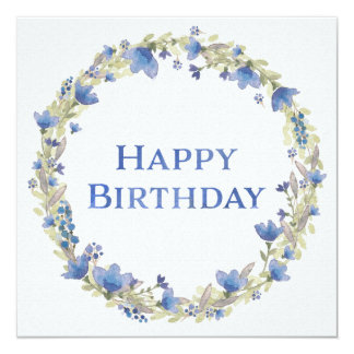 Blue Floral Watercolor Wreath Happy Birthday Card 13 Cm X 13 Cm Square Invitation Card