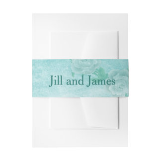 Blue Floral Wedding Invitation Belly Band