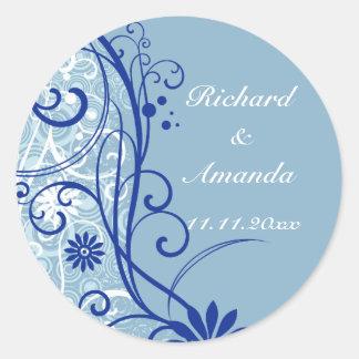 Blue Floral Wedding Swirls Round Stickers