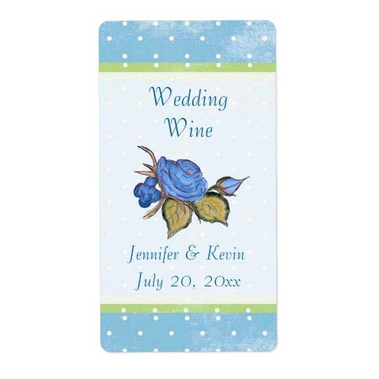 Blue Floral Wedding Wine Label