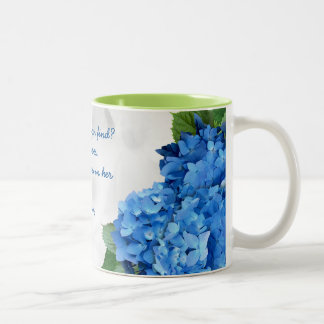 Blue Floral Wife of Noble Character Scripture Two-Tone Coffee Mug