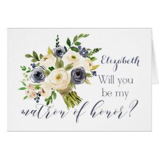 Blue floral Will you be my matron of honor card