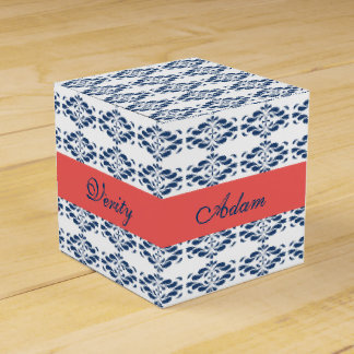 Blue Floral with Coral Band Favour Box