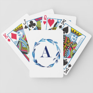 Blue Floral Wreath 'A' Bicycle Playing Cards