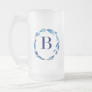 Blue Floral Wreath 'B' Frosted Glass Beer Mug