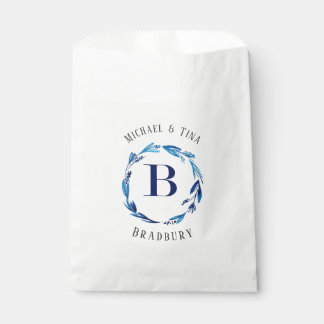 Blue Floral Wreath 'B' Monogram Favour Bag