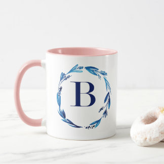 Blue Floral Wreath 'B' Mug