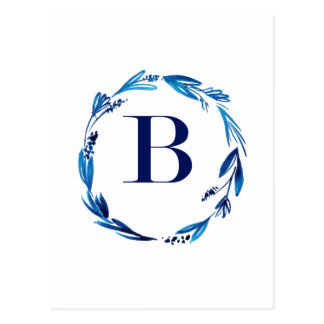 Blue Floral Wreath 'B' Postcard