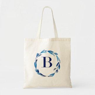 Blue Floral Wreath 'B' Tote Bag