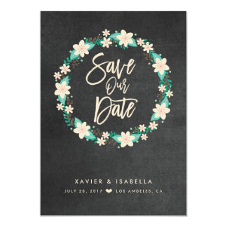 Blue Floral Wreath Save The Date Announcement
