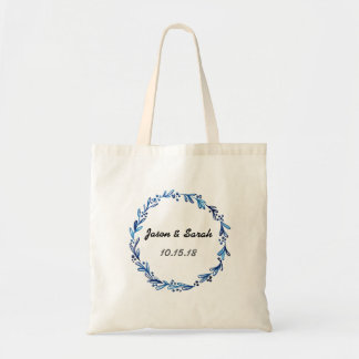 Blue Floral Wreath Tote Bag