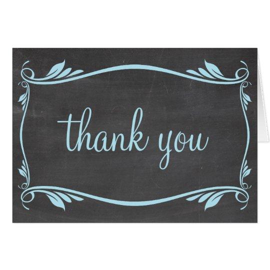 Blue Flourish Chalkboard Thank You Card