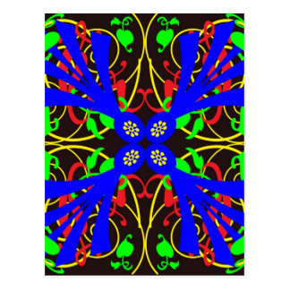 Blue Flower Abstract Post Card