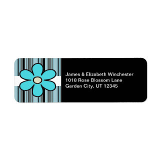 Blue Flower and Stripes Address Labels