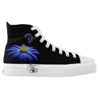BLUE FLOWER & BLUE BEE/BLACK BACKGROUND HIGH TOPS