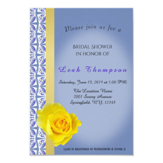 Blue Flower Border&Yellow Rose Bridal Shower Card