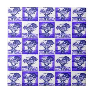Blue Flower Bouquet in Vase Pop Art Mosaic Tiles