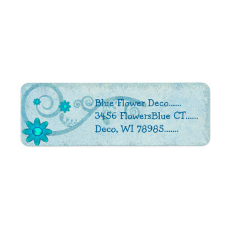 Blue Flower Deco CUSTOM Return Address Label