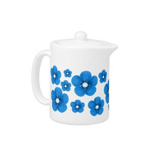 Blue Flower Design Teapot