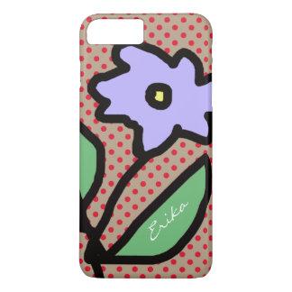 blue flower, dots & name iPhone 8 plus/7 plus case