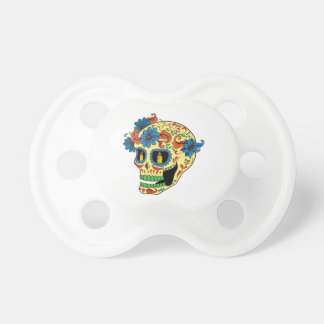 Blue Flower Eyes Day Of The Dead Sugar Skull Baby Pacifier