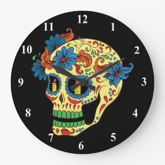 Blue Flower Eyes Day Of The Dead Sugar Skull Large Clock